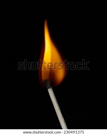 Build a fire. Lighted match on a black background - stock photo