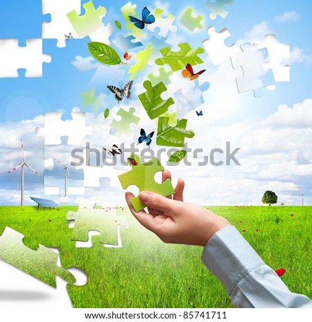 Build a puzzle with nature piece - stock photo