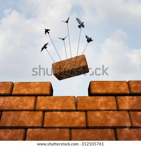 Build a wall business concept  or removing an obstacle as a group of birds placing a brick to complete a wall as a puzzle metaphor and working together symbol for creating a successful structure. - stock photo