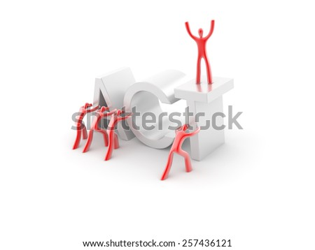 Build and reach your success; business and financial concepts, isolated on white. - stock photo