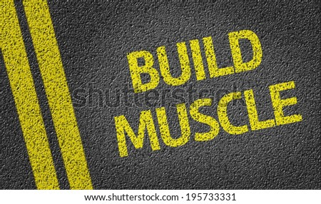 Build Muscle written on the road - stock photo