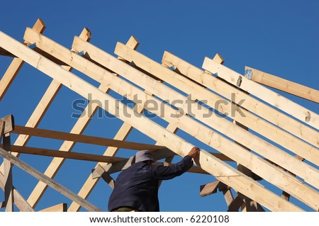 build the roof - stock photo
