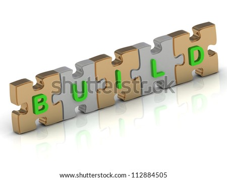 BUILD word of gold puzzle and silver puzzle on a white background - stock photo