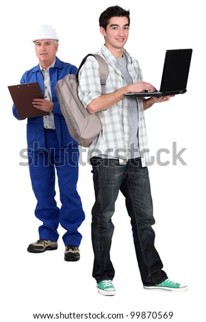 Builder and teenager stood together - stock photo