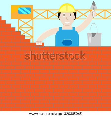 Builder builds a brick wall. Trowel and cement, bricklayer work, worker and instrument, brickwork  graphic illustration - stock photo