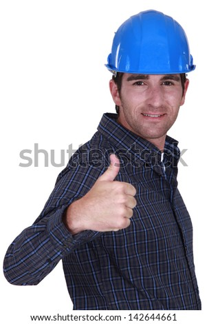 Builder giving ok gesture - stock photo