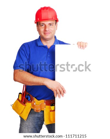 Builder holding  the blank board - stock photo