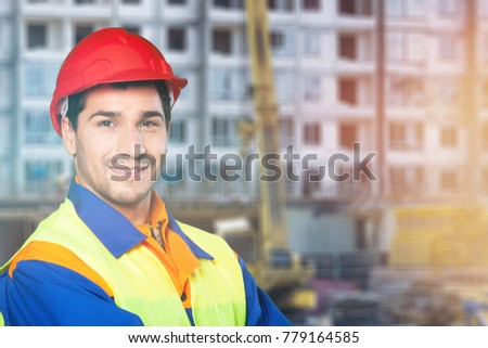 Builder on city background