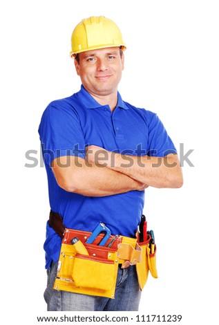 Builder on white background expert - stock photo