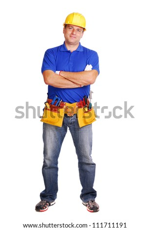 Builder on white background full length - stock photo