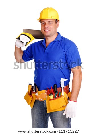 Builder on white background holding the tool on his shoulder