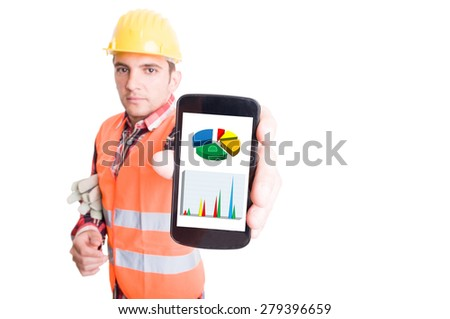 Builder or construction worker showing smartphone with financial charts - stock photo