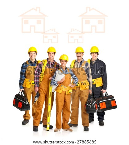 Builder people  in yellow uniform. Isolated over white background - stock photo