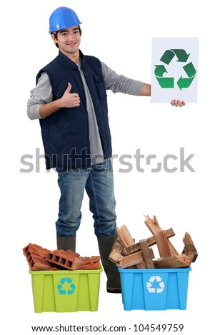builder recycling materials - stock photo