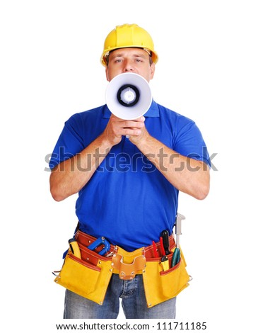 Builder shouting loud into the megaphone - stock photo