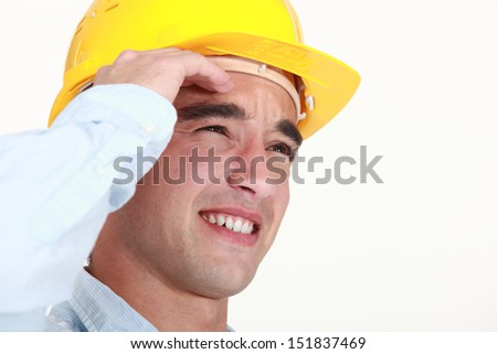Builder suffering from head ache
