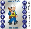 Builder wearing personal protection equipment and safety icons - stock photo