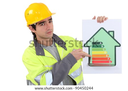 Builder with an energy rating sign - stock photo