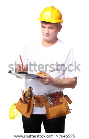 builder with belt construction writing on document isolated on white - stock photo