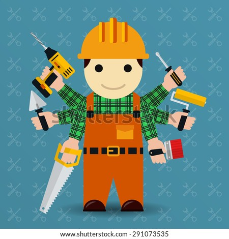 Builder with many arms. Handyman and worker, tools and occupation person - stock photo