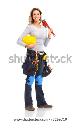 Builder woman with big wrench. Isolated over white background. - stock photo