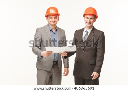 builders to read blueprints smiling plan white background