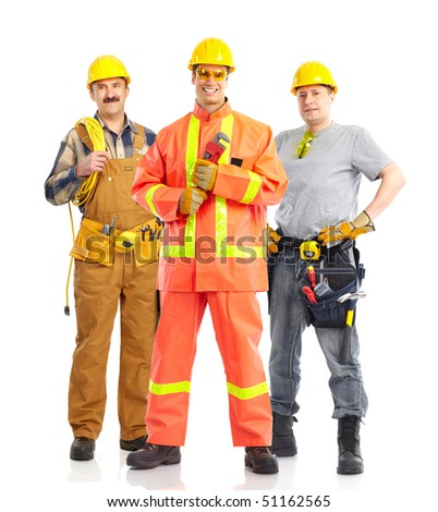 builders workers. Isolated over white background - stock photo