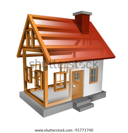 Building a home and house construction with the inside see through wood frame structure of a residence built by carpenters and workers as a renovation concept for the housing  real estate industry.