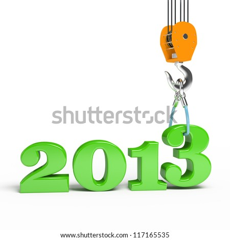 Building a hook puts the figure three. 3d illustration of New Year 2013 - stock photo