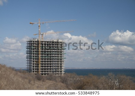 Building a house near the sea.