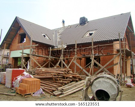 Building a new house - stock photo