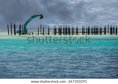 Building a resort in maldives tropical paradise  - stock photo