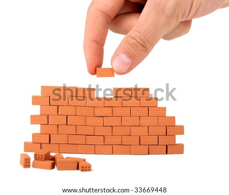 building a small brick wall on white background