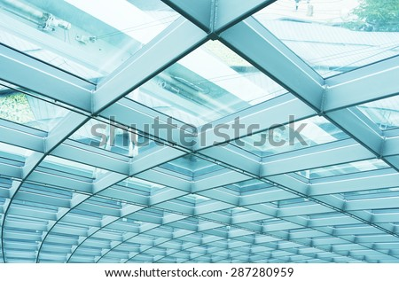 Building Abstract. Modern reinforced steel glass Wall - stock photo