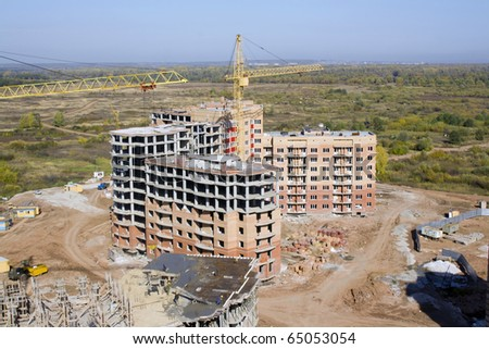Building activity. Industrial scene. Aerial view - stock photo