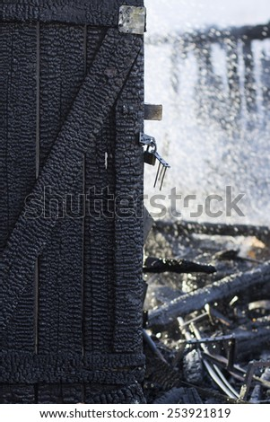 building after fire - stock photo