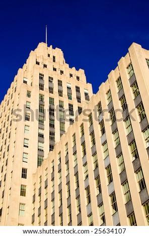 Building against blue sky - stock photo