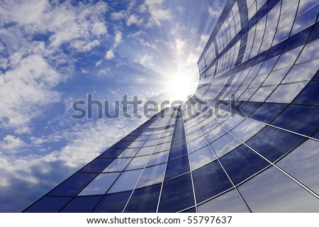 Building against the sky with shining rays