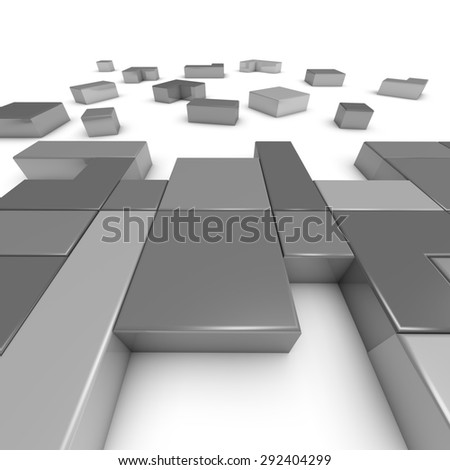 Building and constructing idea with 3d grey building blocks. White background. - stock photo