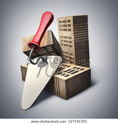 Building and construction concept. bricks and metal trowel. High resolution 3d render - stock photo