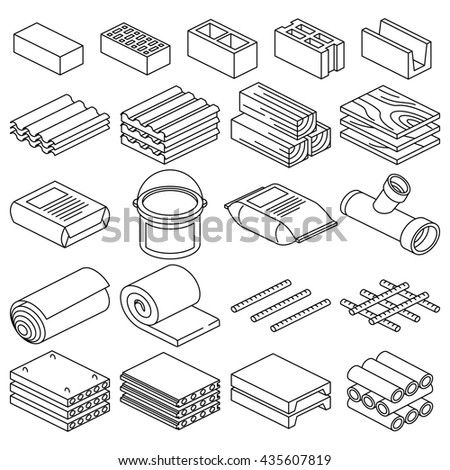 Building and construction materials linear icons