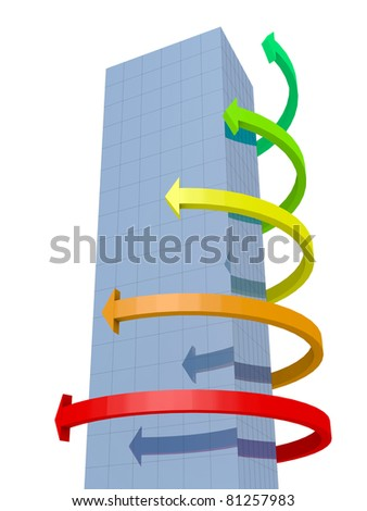 Building and graphic arrows around it - stock photo