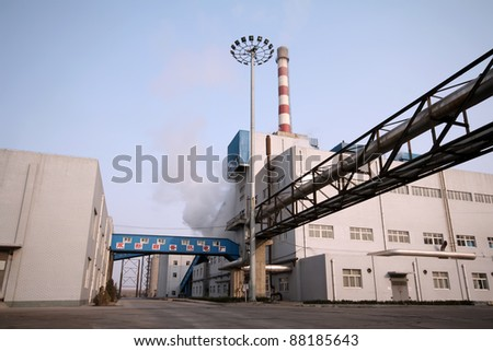 building and mechanical equipment in a paper mill factory in China