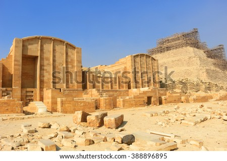Building and Ruins in the necropolis of Saqqara, in Egypt