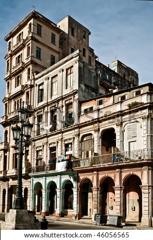 Building and street lamp , Havana, Cuba - stock photo