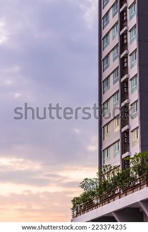 Building and twilight sky - stock photo