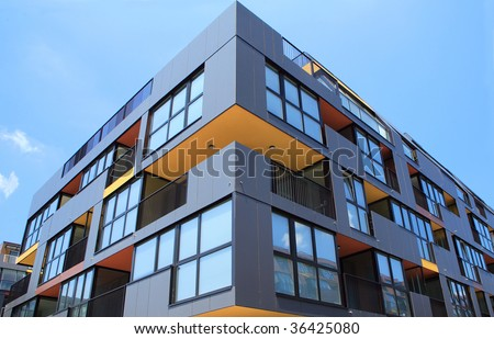 Building angle and windows - stock photo