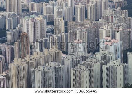 Building apartment pattern Hong Kong living. - stock photo