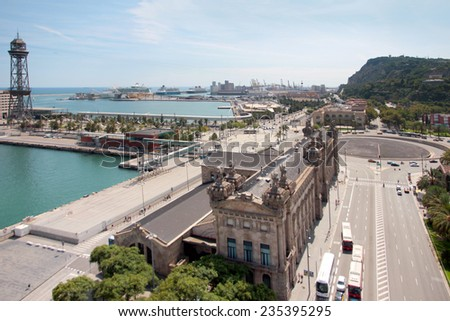building area and construction of a sea port Barcelona Spain