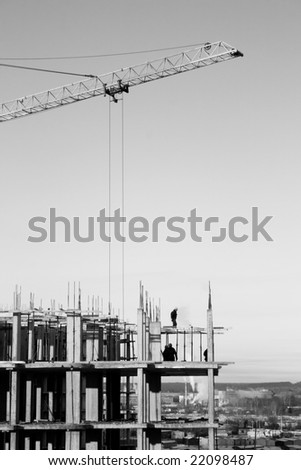 Building area . Business in industry . Black and white photo - stock photo